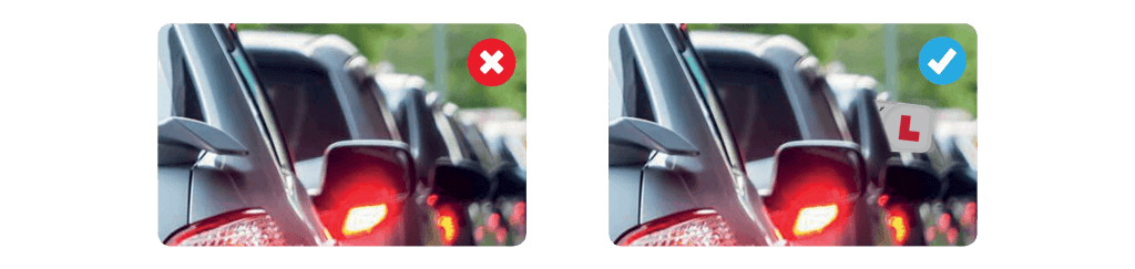 Traditional L plate vs Insight Vehicle Sign System